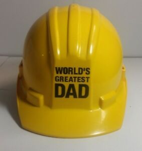 Worlds Greatest Dad Construction Plastic Yellow Hardhat Adjust Size 6 1 2 8 Gift