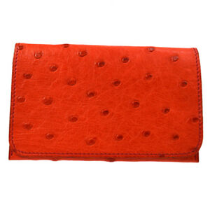 Authentic Hermes Card Case Wallet Red Ostrich Leather France With Box V30527