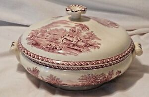 Antique Wedgwood Covered Dish Bowl Tureen Red White C 1800s
