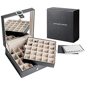 Leather 45 Jewelry Boxes Organizers Slots Earring Storage Display With Mirror