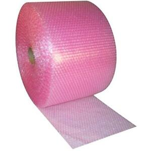 Small 3 16 inch Bubble Wrap Pink Anti static Cushioning Roll 175 foot By Wide