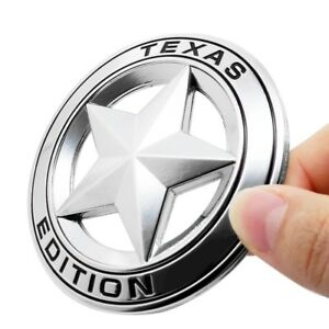 3d Metal Texas Edition Emblem Sticker Star Badge For Truck Silver