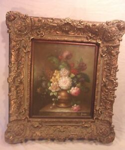 Large Vintage Victorian Frame With Painting 35x38 1 2 Canvas 20x24