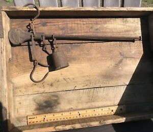 Rare Antique Farm Store Hanging Stilyard Steelyard Scale Very Nice