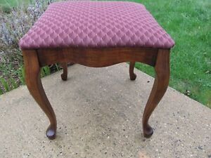 Antique Rectangular Birch Footstool Vanity Dressing Table Stool Bench Restored