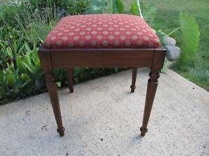 Vintage Walnut Sewing Machine Vanity Bench Red Upholstery Restored