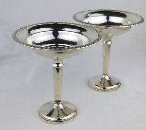 Sterling Silver Compotes Pedestal Candy Dishes Matching Pair Ellmore Meriden Ct