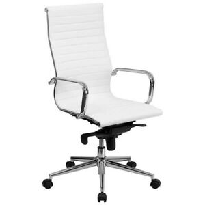 High Back White Ribbed Leather Executive Swivel Chair With Knee tilt Control