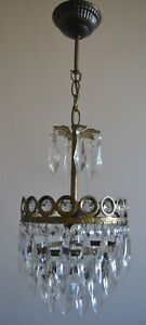 Vintage Mini French Basket Style Brass Crystals Chandelier Antique Ceiling Lamp
