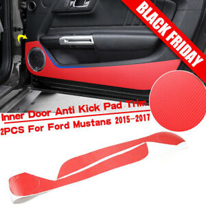 Red Carbon Fiber Door Anti Kick Sticker Trim Decor For Ford Mustang 2015 2017