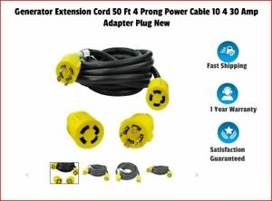 Generator Extension Cord 50 Ft 4 Prong Power Cable 10 4 30 Amp Adapter Plug New