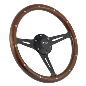 15 Matte Black Steering Wheel Riveted Wood Grip 380mm 6 Hole Chevy Gmc C10