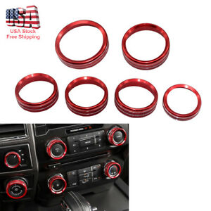 Red Decor Ring Cover Trim For 2016 2018 Ford F150 Air Conditioner
