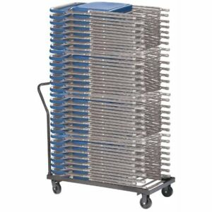 National Folding Chair Cart Flat Stack Gray Up To 30 Chairs
