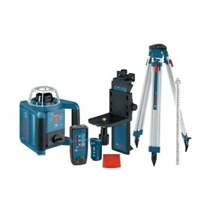 Bosch Self Leveling Rotary Laser Level 1000 Ft Layout Beam Complete Kit 7 Piece