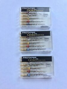 3 pack Dentsply Protaper Gold Assorted Rotary Files 25 Mm Sx f3 For Endodontics
