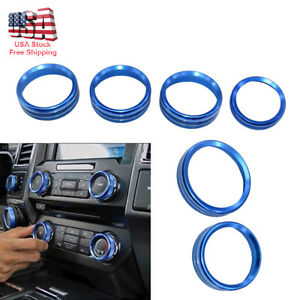 Blue Decor Ring Cover Trim For 2016 2018 Ford F150 Air Conditioner Audio Switch