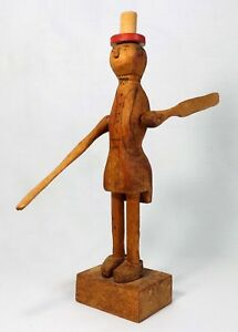Rare Early 20th C American Folk Art Hand Carved Whirligig Man W Petticoat Hat