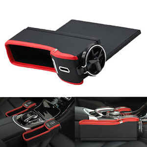 2x Car Pu Leather Seat Catcher Gap Filler Storage Box Coin Collector Cup Holder