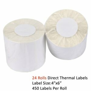 24 Roll 4x6 Direct Thermal Mailing Label 450 roll Zebra Zp450 2844 Free Shipping