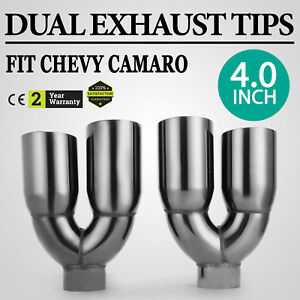 Oem Dual 4 0 Quad Staggered Gloss Black Exhaust Tips For Ford Mustang Stock