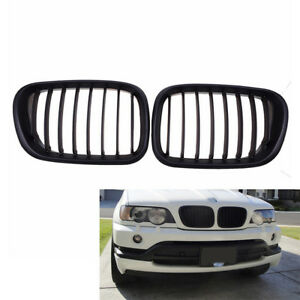 2x For Bmw X5 E53 Black Front Center Grille Grill Kidney Hood 99 03 Replacement