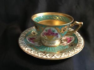 Antique German Hand Painted Set Cup Saucer Gold Flowers Dresden Saxonia