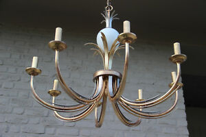 Brass Opaline Ostrich Egg Leaves Pineapple Attr Maison Jansen Chandelier