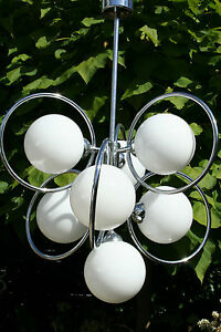 Mid Century Space Age Retro Atomic Sputnik 7 Opaline Glass Globes Chandelier 60