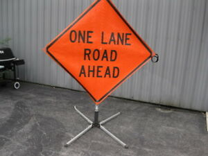 One Lane Road Ahead Road Work Construction Sign Folding Base 48 X 48 Utility