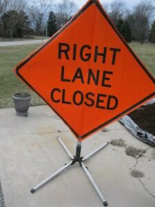 Right Lane Closed Road Work Construction Sign Folding Base 48 X 48 Utility