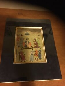 Ottoman Empire Persian Arabic Water Color Painting 18 19 Century Matted