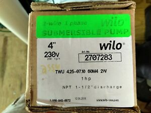 Wilo Submersible Pump 2707283 1hp 230v 4 With 1 1 2 Discharge Well Seal