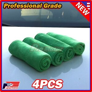 4x Green Microfiber Cleaning Cloth No Scratch Rag Car Polishing Detailing Towels