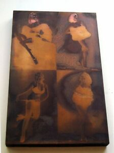Vintage 4 Nude Girls Wood Copper Printing Block Plate Made In Usa Stamped 1