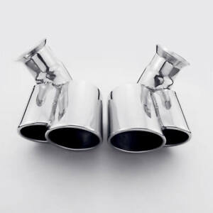 Dual Outlet 304 Stainless Steel Bent Quad Staggered Exhaust Tips For Porsche