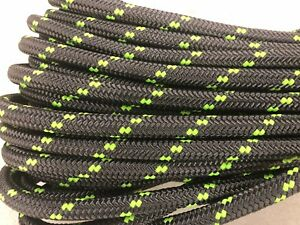 Double Braid Polyester 3 4 x75 Ft Arborist Rigging Tree Bull Rope Charcoal lime