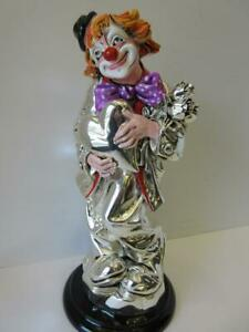 Large Italian Silver Plated Enamel In Love Heart Flower Circus Clown Figurine