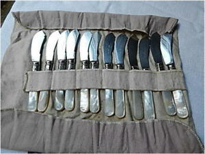 Antique Set Of 12 1855 Meriden Mother Of Pearl Sterling Ferrule Cheese Knives