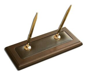 Dacasso Walnut And Leather Double Pen Stand