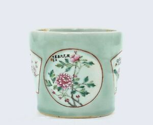 Early 20c Chinese Famille Rose Celadon Porcelain Planter Pot Calligraphy Poem Mk