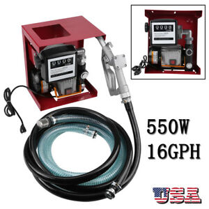 110v Electric Diesel Oil Fuel Transfer Pump W Meter 12 Hose Nozzle Us