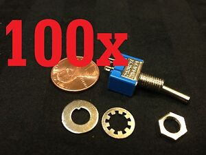 100x On off Toggle Switch Spst Mts 101 6mm 1 4 Sub Miniature On Off 100pcs B12