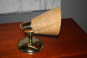 Vintage Mid Century Modern Wall Sconce Light Lamp With Burlap Fiberglass Shade