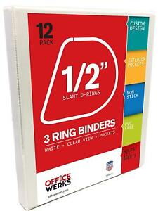 3 Ring Binder 0 5 Slant D rings Clear View Pockets Office Organizer 12 pack
