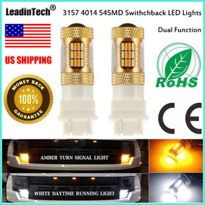 2x 3157 Switchback Led Bulb 3454 Turn Signal Light 4157 Dual Color Yellow White