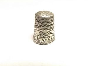 Antique Waite Thresher Sterling Silver Birds Facing Each Other Thimble Sz 7