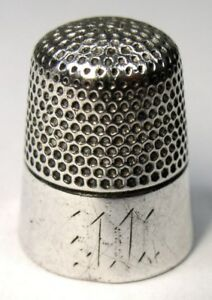 Antique Ketcham Mcdougall Sterling Silver Thimble Wide Band Monogram