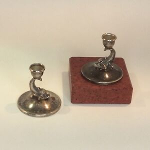 Vintage Silver Plated Dolphin Candlesticks Pair Made In Spain