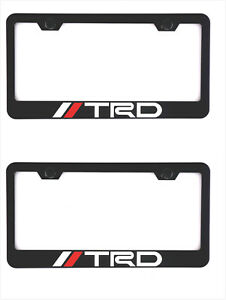 2pcs Stainless Steel Trd Black License Plate Frame Holder Screw Caps For Toyota